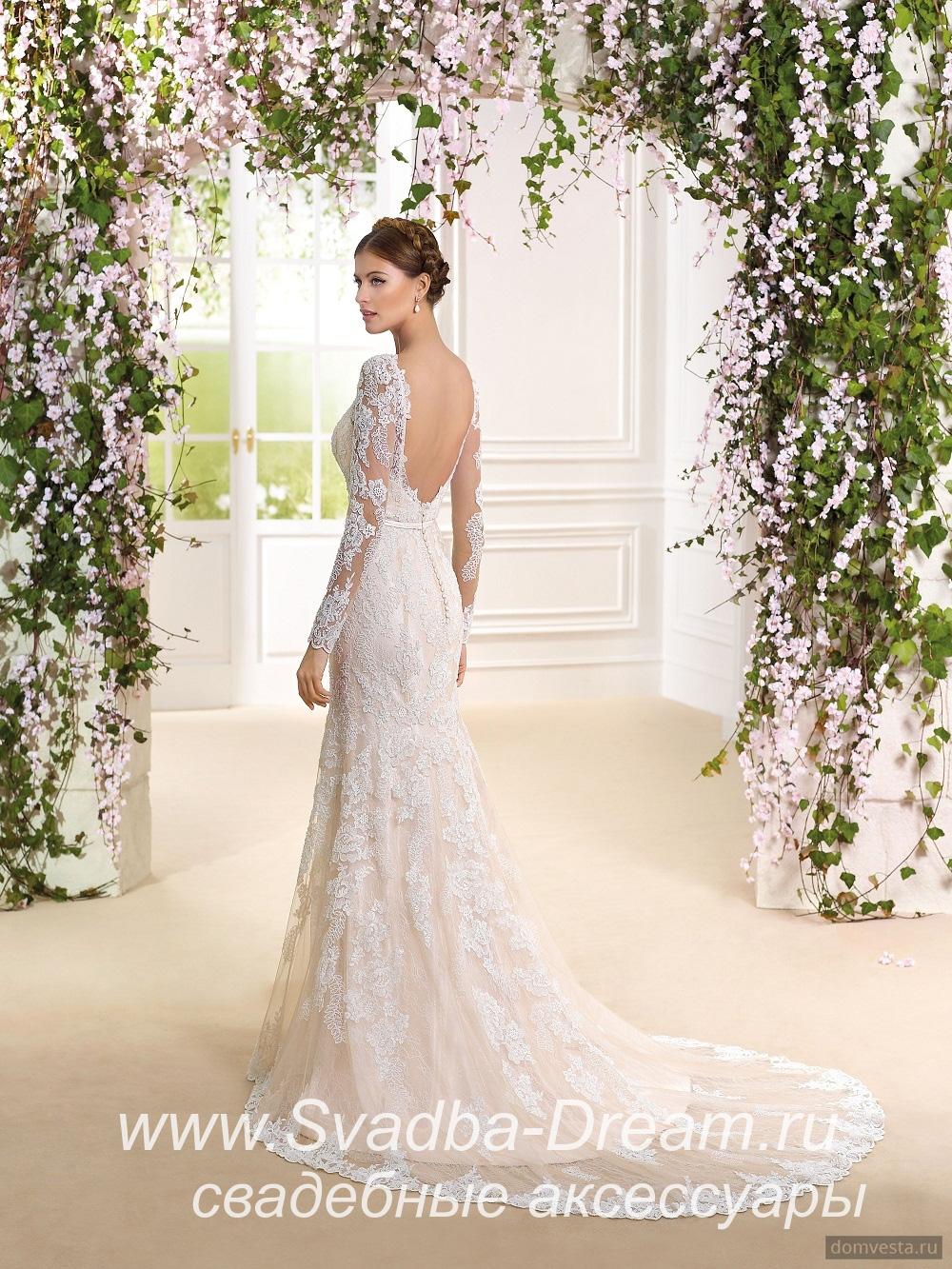 e7d383932b1 Свадебное платье прямое светло-розовое из кружева Fara Sposa в Краснодаре