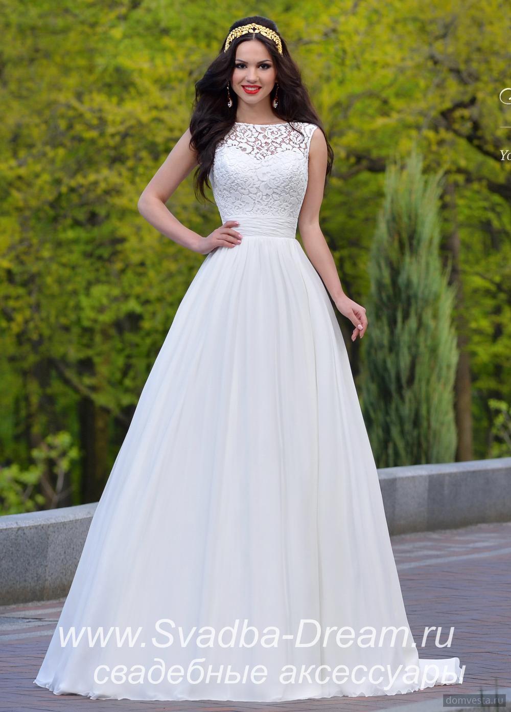 99974273852 Свадебное платье большого размера А-силуэта белое из шифона и кружева  Jasmine Empire