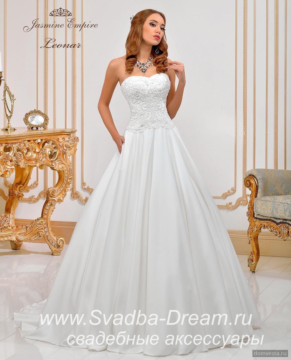 1d9ac545f00 Свадебное платье открытое айвори из атласа и кружева Jasmine Empire